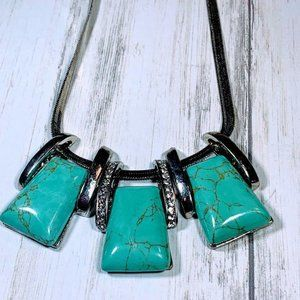 Turquoise Stone Look Silver Necklace